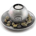 Подсвечник для чайной свечи на подставке с камушками, серебро, D-15, 8 см, ароматерапия, эфирные масла